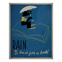 Rain Is Bad For A Book WPA Vintage Poster