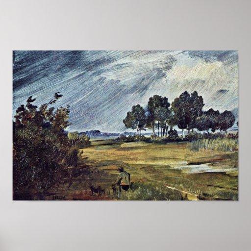 Rain Landscape By Busch Wilhelm (Best Quality) Poster