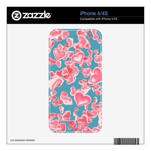 Rain of hearts decal for iPhone 4