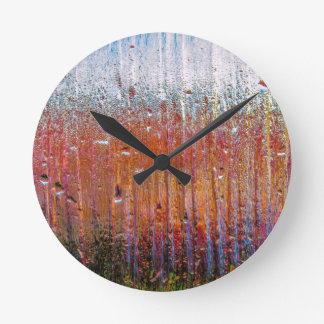 rain on colorful glass round clock