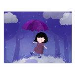 Rain on my umbrella - postcard