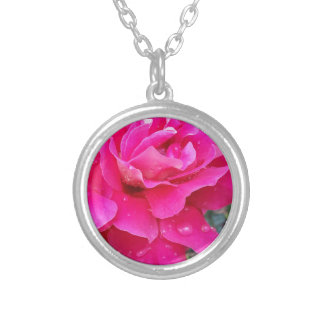 Rain on petals silver plated necklace