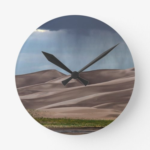 Rain on the Great Sand Dunes Round Clock