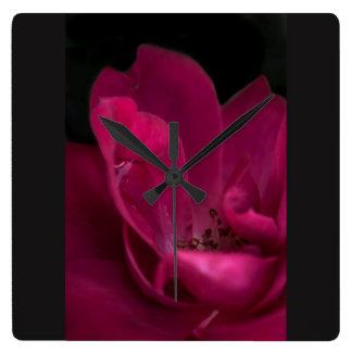Rain on the rose square wall clock
