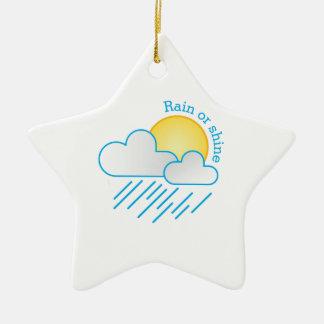 Rain Or Shine Double-Sided Star Ceramic Christmas Ornament