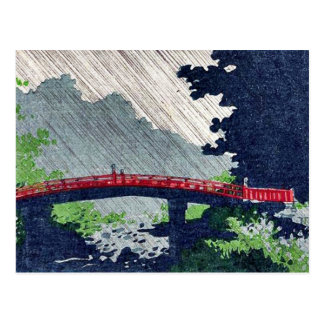 Rain over sacred bridge (shinkyo) by Uehara,Konen Postcard