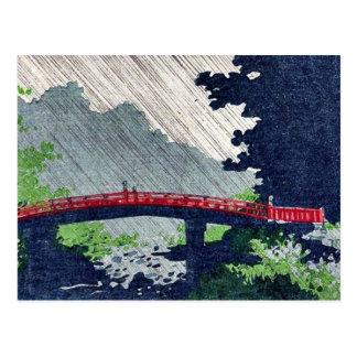 Rain over sacred bridge (shinkyo) by Uehara,Konen Postcard