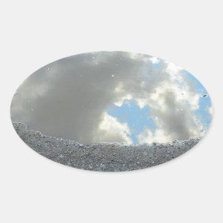 Rain Puddle Reflections Oval Sticker