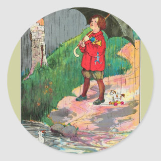 Rain, rain, go away, Come again another day Classic Round Sticker