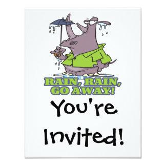 rain rain go away funny rhino april showers blues 4.25x5.5 paper invitation card