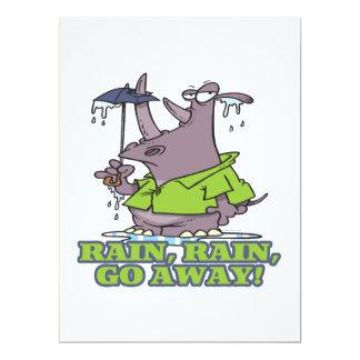 rain rain go away funny rhino april showers blues 6.5x8.75 paper invitation card