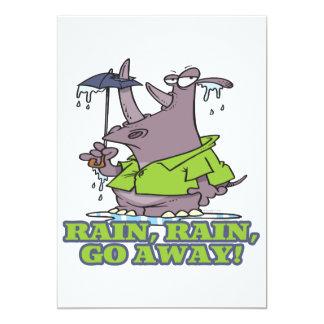 rain rain go away funny rhino april showers blues 5x7 paper invitation card