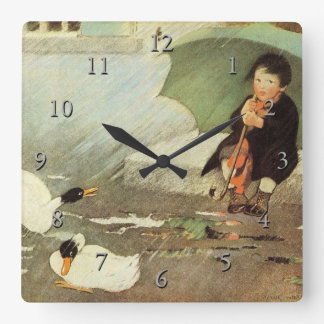 Rain, Rain Go Away Nursery Rhyme Square Wall Clock