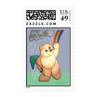 Rain & Rainbow bear Postage
