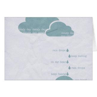 RAIN RAINDROPS CLOUDY DAY GREY BLUE CLOUDS UMBRELL CARD