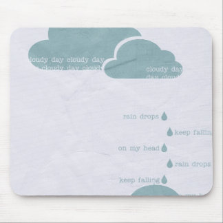 RAIN RAINDROPS CLOUDY DAY GREY BLUE CLOUDS UMBRELL MOUSE PAD