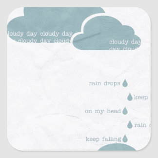 RAIN RAINDROPS CLOUDY DAY GREY BLUE CLOUDS UMBRELL SQUARE STICKER