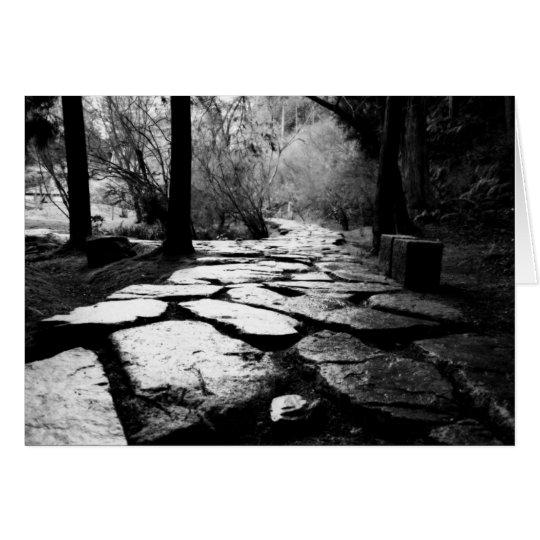 Rain-soaked paving stones card