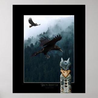 RAIN SPIRITS Raven Totem Pole Art Poster