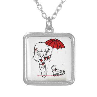 rain square pendant necklace