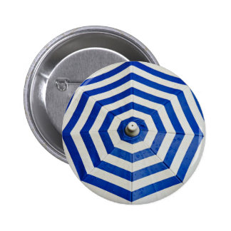 Rain Themed, Blue And White Umbrella Opens And Fil Button