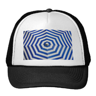 Rain Themed, Blue And White Umbrella Opens And Fil Trucker Hat