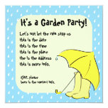 Rain Umbrella 5.25x5.25 Square Paper Invitation Card