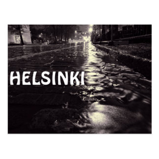Rain water flowing on a Helsinki street Postcard