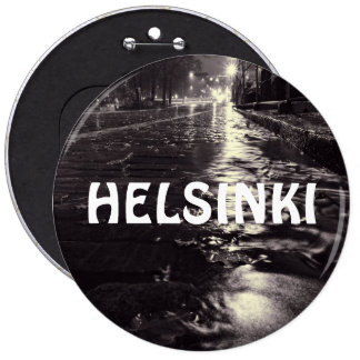 Rain water flowing on streets of Helsinki Pinback Button