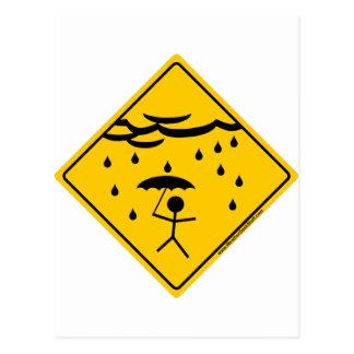 Rain Weather Warning Merchandise and Clothing Postcard