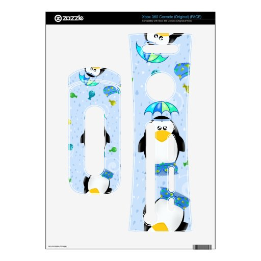Rain Wellies Penguin Xbox 360 Console Decal