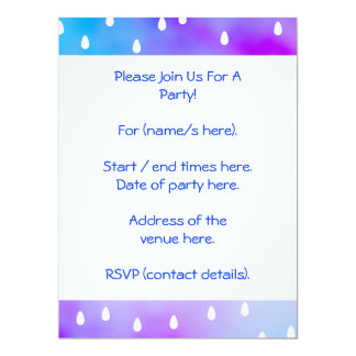 Rain with blue and purple cloudy sky. 6.5x8.75 paper invitation card