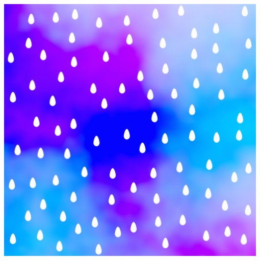 Rain with blue and purple cloudy sky. photo sculpture