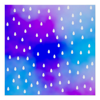 Rain with blue and purple cloudy sky. posters