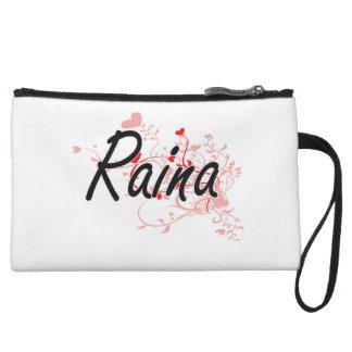 Raina Artistic Name Design with Hearts Wristlet Clutch