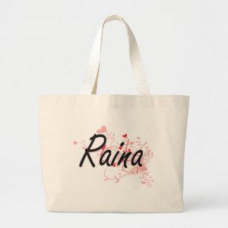 Raina Artistic Name Design with Hearts Jumbo Tote Bag