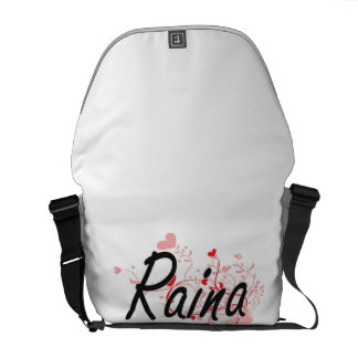 Raina Artistic Name Design with Hearts Courier Bags