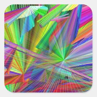 rainbiw line of color square sticker