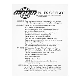 RAINBO GAME RULES FLYER