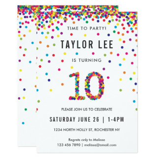10 year old birthday invitations announcements zazzle rainbow 10 year old birthday party 10th birthday card stopboris Image collections