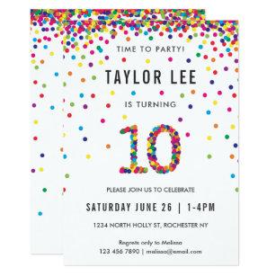rainbow 10 year old birthday party 10th birthday invitation