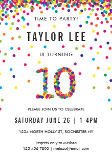 10th birthday invitations zazzle
