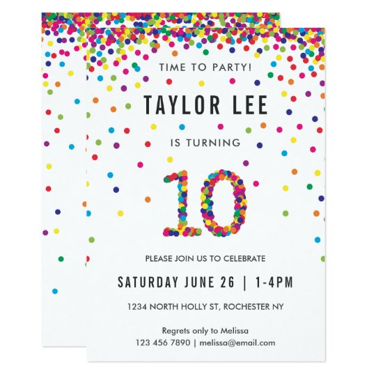 rainbow 10 year old birthday party 10th birthday invitation