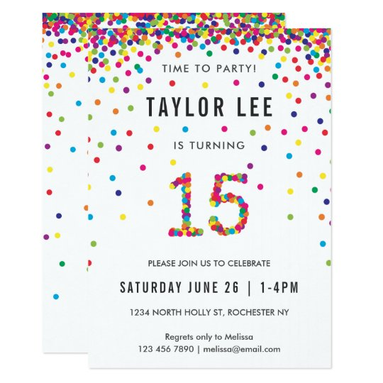 Rainbow 15 Year Old Birthday Party 15th Birthday Invitation