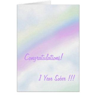 Rainbow 1 year sober card
