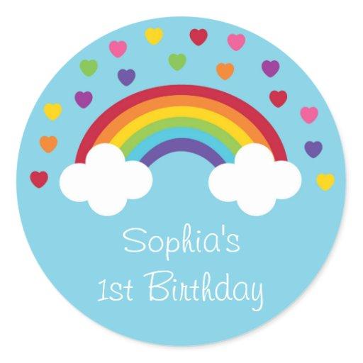 Rainbow 1st Birthday Classic Round Sticker
