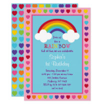 Rainbow 1st Birthday Invitation