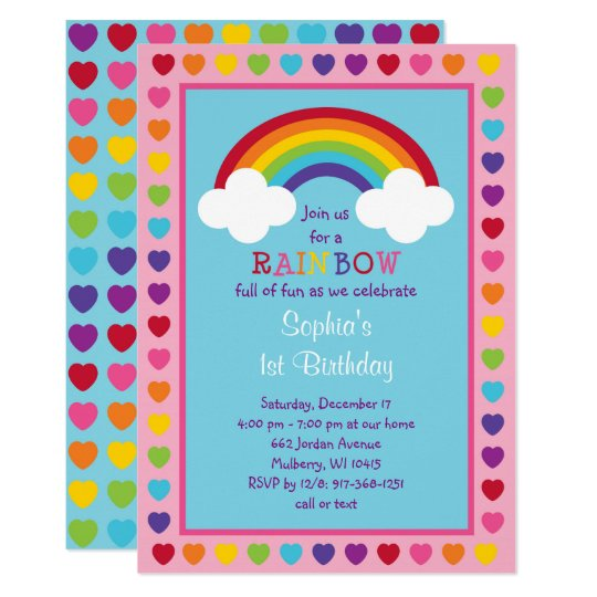 rainbow 1st birthday invitation zazzle com