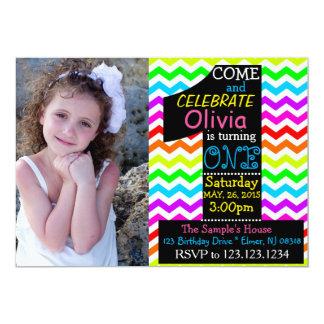 Rainbow 1st Birthday Invitation. Card