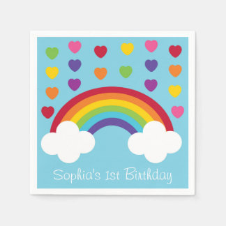 Rainbow 1st Birthday Paper Napkin